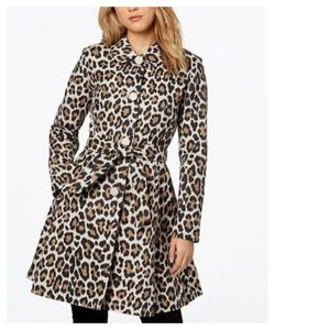 Kate Spade Leopard Print Tie Waist Trench Coat